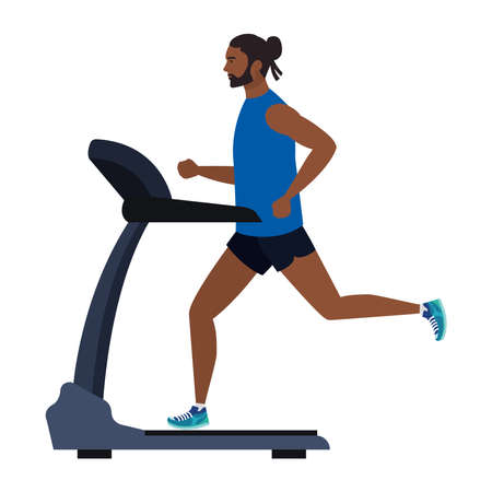sport, man afro running on treadmill, sport person afro at the electrical training machine on white background vector illustration design