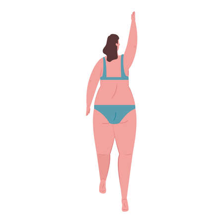 cute plump woman of back in swimsuit blue color on white background vector illustration design Ilustracja