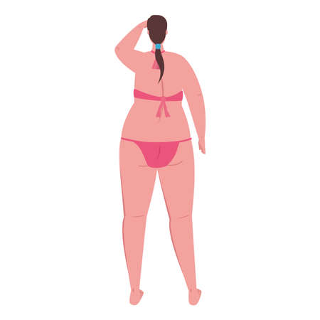 cute plump woman of back in swimsuit pink color on white background vector illustration design