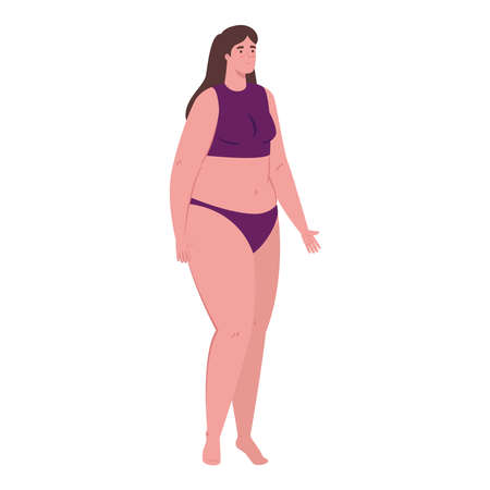 cute plump woman in swimsuit purple color on white background vector illustration design