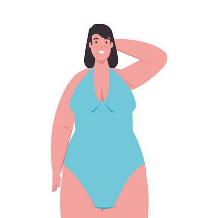 cute plump woman in swimsuit blue color on white background vector illustration design