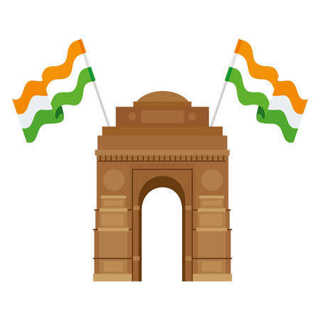 india gate, famous monument with flags of india vector illustration design