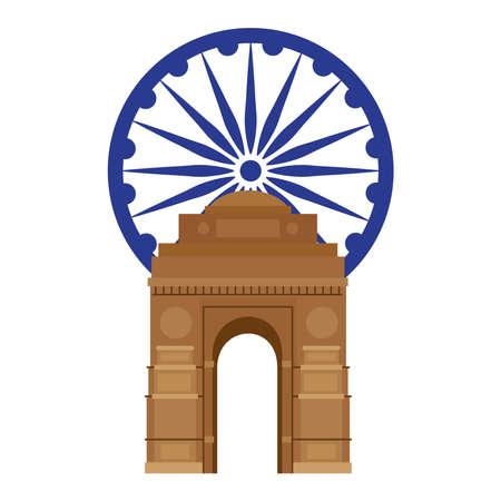 india gate, famous monument with blue ashoka wheel indian vector illustration design