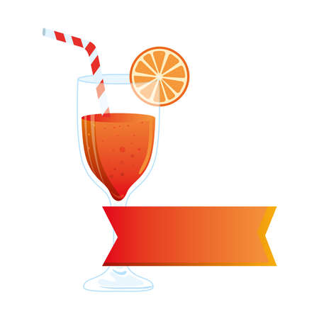 cocktail glass, refreshing coctail with orange slice and label vector illustration design
