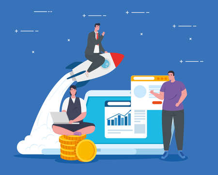 businesspeople with rocket and laptop design, Start up plan idea strategy and marketing theme Vector illustration