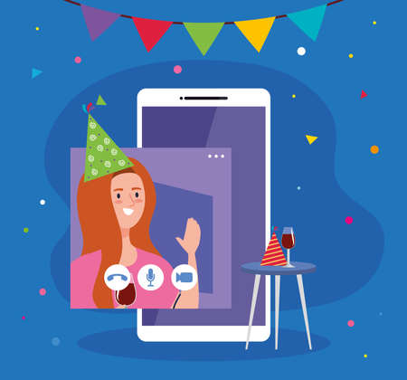 woman with party hat and smartphone design, Happy birthday and video chat theme Vector illustration