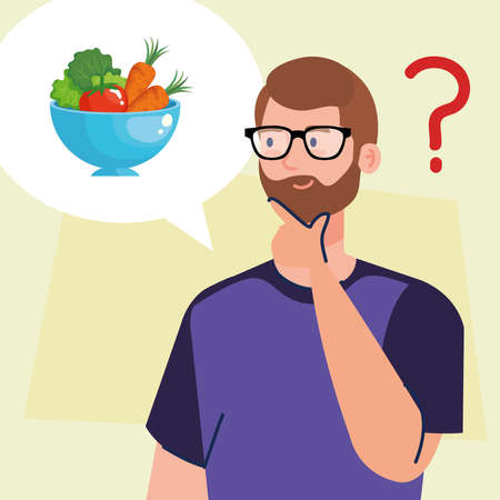man thinking in healthy food design, eat restaurant and menu theme Vector illustration Ilustrace