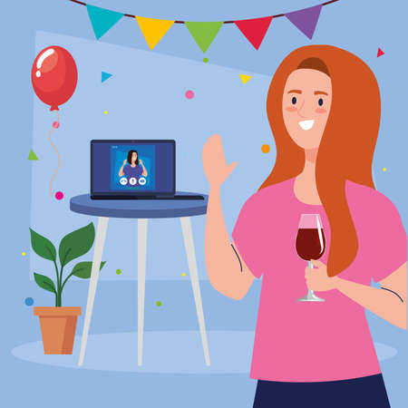 woman with wine cup and girl on laptop design, Happy birthday and video chat theme Vector illustration