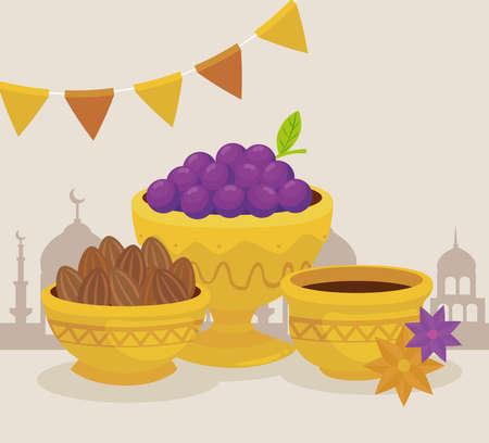 eid al adha celebration card with fruits and food in golden bowls vector illustration design 矢量图像
