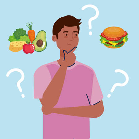 man thinking what to eat design, junk or healthy food decision theme Vector illustration Ilustrace