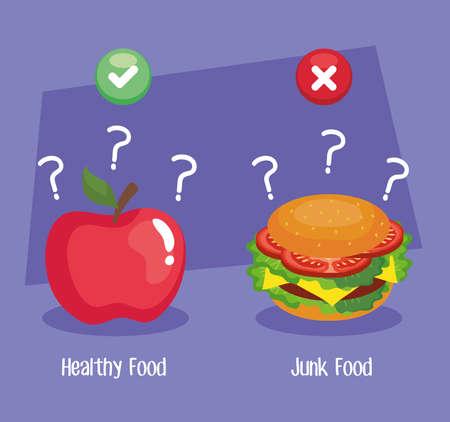 apple and hamburger design, junk or healthy food decision theme Vector illustration