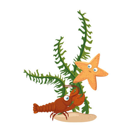 sea underwater life, lobster and starfish with seaweed on white background vector illustration design