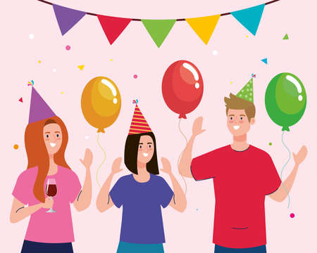 Man and women cartoons with hats and balloons design, Party celebration event happy birthday holiday surprise anniversary and decorative theme Vector illustration 矢量图像
