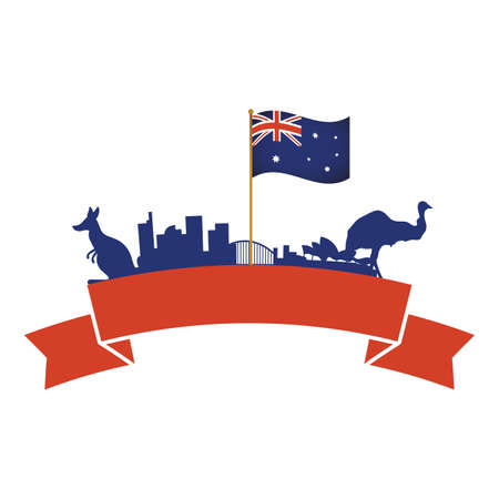 australia flag in pole with animals and monuments vector illustration design
