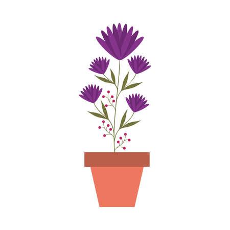 flower inside pot design, natural floral nature plant ornament garden decoration and botany theme Vector illustration