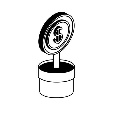 coin flower isometric line style icon of money financial banking commerce and market theme Vector illustration
