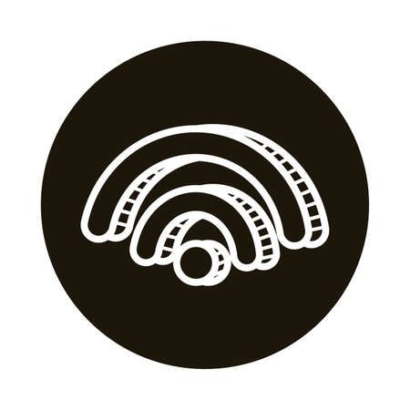 wifi signal doodle block style icon vector illustration design