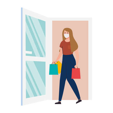 happy woman wearing medical mask, carrying shopping bags going out the door vector illustration design Stock Illustratie