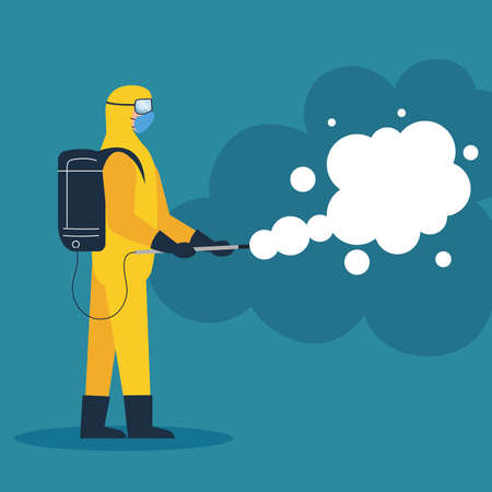 person in protective suit or clothing, spray to cleaning and disinfection virus, covid 19 disease, preventive measure vector illustration design