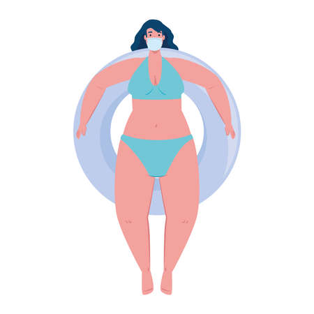 cute plump woman in swimsuit blue color, wearing medical mask, in lifeguard float circle, covid 19 summer vacation vector illustration design