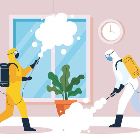 home disinfection by commercial disinfecting service, disinfection workers group with protective suit and spray prevent covid 19 vector illustration design