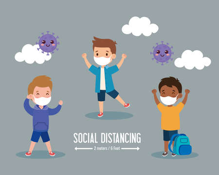 back to school for new normal lifestyle concept, children wearing medical mask and social distancing protect coronavirus covid 19 vector illustration design Векторная Иллюстрация