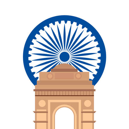 india gate, famous monument with blue ashoka wheel indian vector illustration design