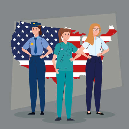 police doctor woman and businesswoman with usa flag map design, Labor day holiday and patriotic theme Vector illustration