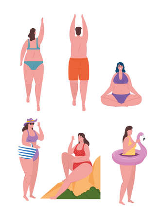 young people using swimsuit, women and man with swimsuit, summer vacation season vector illustration design