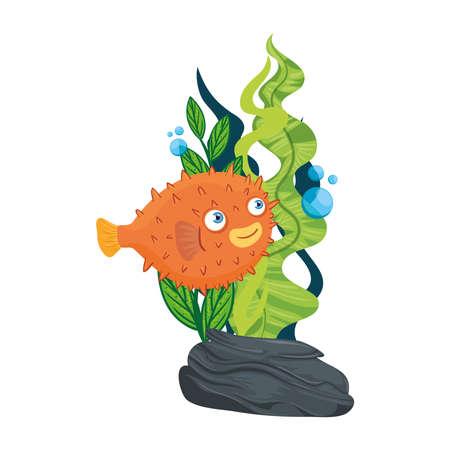 sea underwater life, blowfish animal and seaweed on white background vector illustration design