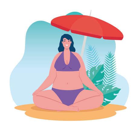 cute plump woman in swimsuit sitting in the beach, summer vacation season vector illustration design