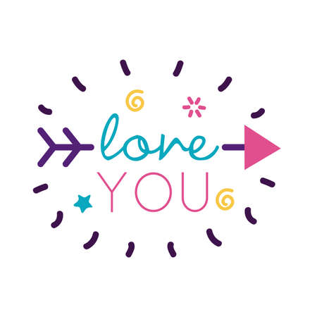 Love you text with arrow flat style icon design of Passion and romantic theme Vector illustration