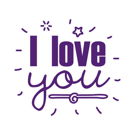I love you text line style icon design of Passion and romantic theme Vector illustration Ilustracja