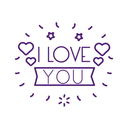 I love you text with hearts and ribbon line style icon design of Passion and romantic theme Vector illustration