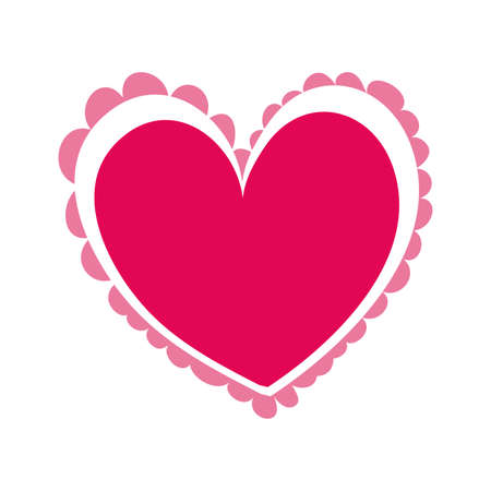 happy valentines day heart with lace vector illustration design