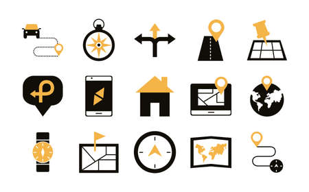 bundle of area and locations set icons vector illustration design Vector Illustration