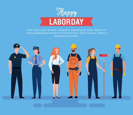 women and men workers design, Labor day holiday and patriotic theme Vector illustration