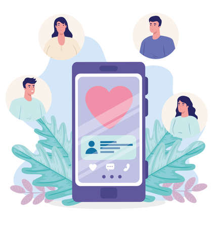 online dating service application, smartphone with heart, modern people looking for couple, social media, virtual relationship communication concept vector illustration design