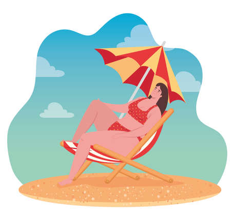 cute plump woman in swimsuit sitting in chair beach with umbrella, summer vacation season vector illustration design