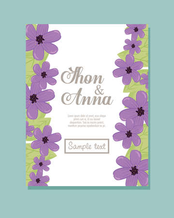 Wedding invitation with purple flowers and leaves design, Save the date and engagement theme Vector illustration