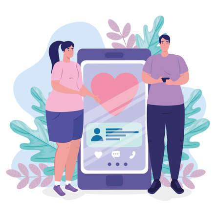 online dating service application, smartphone with heart and couple, modern people looking for couple, social media, virtual relationship communication concept vector illustration design