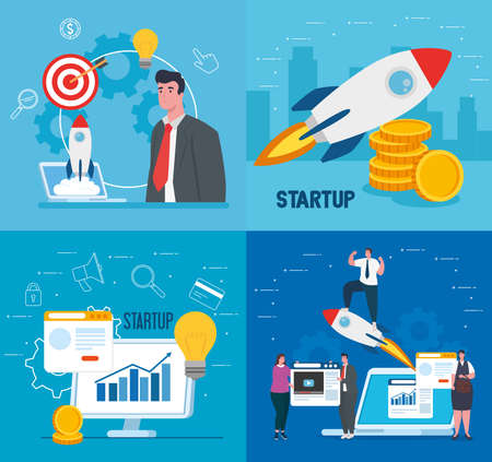 businesspeople with rockets computer and laptop design, Start up plan idea strategy and marketing theme Vector illustration