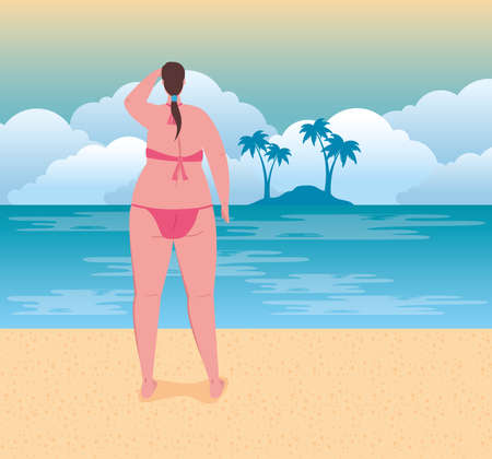 cute plump woman in swimsuit pink color on the beach, summer vacation season vector illustration design
