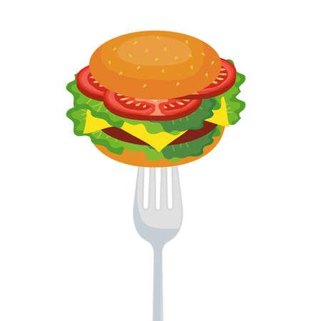 hamburger on fork design, food eat restaurant and menu theme Vector illustration Ilustración de vector