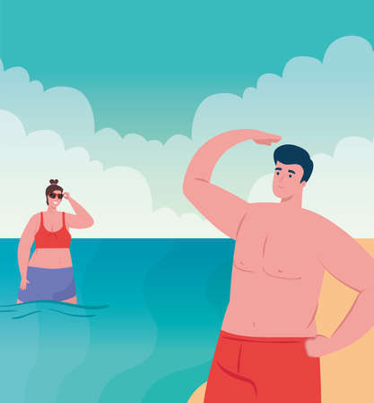 couple on the beach using swimsuit, woman and man in summer vacation vector illustration design Ilustracja