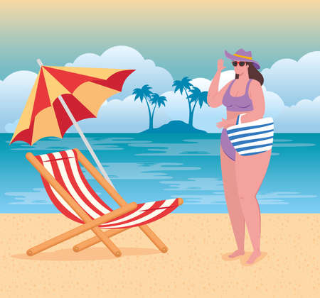 cute plump woman in swimsuit in the beach, chair and umbrella, summer season vector illustration design