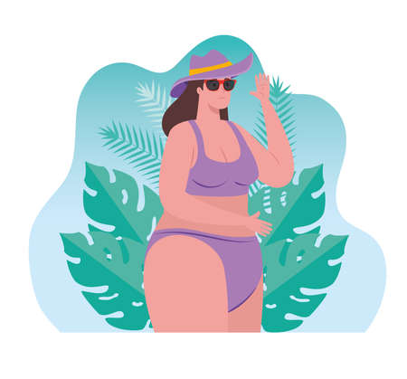 cute plump woman in swimsuit using sunglasses, with tropical leaves scene vector illustration design