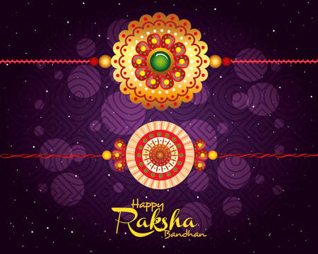 greeting card with decorative set of rakhi for raksha bandhan, indian festival for brother and sister bonding celebration, the binding relationship vector illustration design