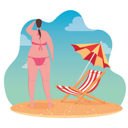 cute plump woman of back using swimsuit, with beach chair and umbrella, in the beach vector illustration design