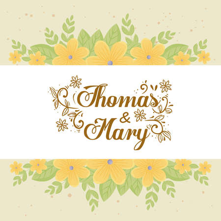 Wedding invitation with yellow flowers and leaves design, Save the date and engagement theme Vector illustration